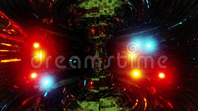 Abstracte kernreactor met gloeiende atoomdeeltjes en mooie reflecties 3d illustratie bewegingsachtergrond live vector illustratie