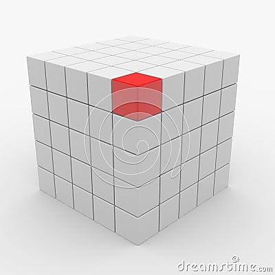 Abstracte kubus die van witte blokken assembleert