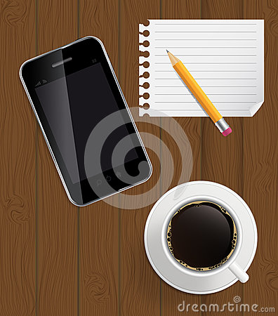 Abstracte ontwerptelefoon, koffie, potlood, blanco pagina