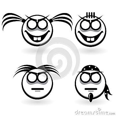 Abstracte pictogrammen met verschillende emoties
