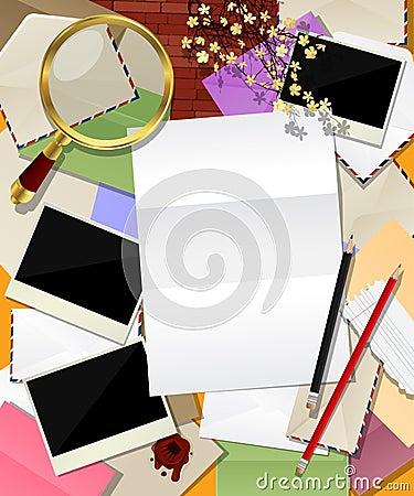 De abstracte collage van de post