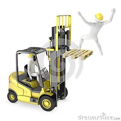 Abstracte witte mens die van de vork van de liftvrachtwagen valt