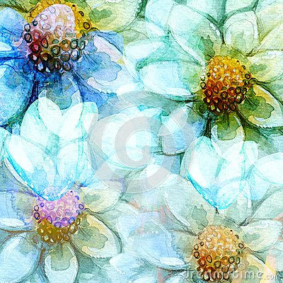 Free Abstracting Daisy Flowers Backgrounds Watercolors Royalty Free Stock Photo - 97622855