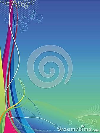 Abstrakcjonistycznego tła kolorowe linie fala