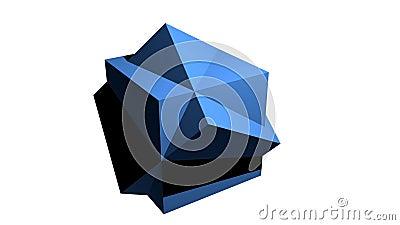 Abstrakcjonistyczny błękitny geometryczny ciało, 3d ciało komponował od sześcianów, wiruje na białym tle, pożytecznie jako wstęp, ilustracja wektor