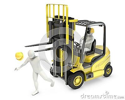 Abstrakcjonistyczny biały człowiek jest uderzał dźwignięcia ciężarówki rozwidleniem