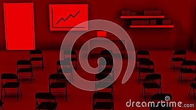 Abstrakcyjne puste pole egzaminacyjne lub sala egzaminacyjna w kolorze czerwonym, koncepcja edukacyjna Animacja Układ 3D sali lek zbiory wideo
