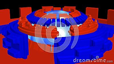Abstrakt bakgrund 4k med blåa röda cirklar för fiktion som roterar stock illustrationer