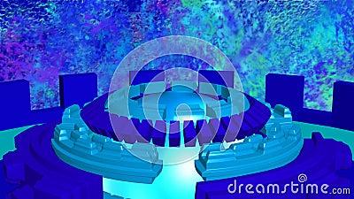 Abstrakt bakgrund med blått för cirklar för fiktion roterande cyan vektor illustrationer
