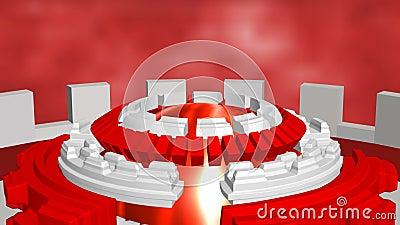 Abstrakt bakgrund med roterande röd cirkelvit för fiktion royaltyfri illustrationer