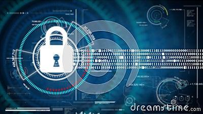 Abstrakt begrepp för säkerhet för bakgrundsanimeringlås på HUD och futuristisk bakgrund för cyber för begrepp för säkerhet för da royaltyfri illustrationer
