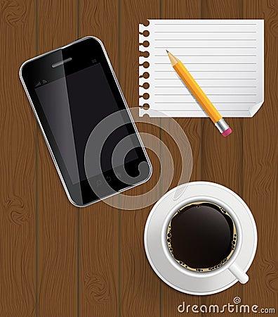 Abstrakt designtelefon, kaffe, blyertspenna, blank sida