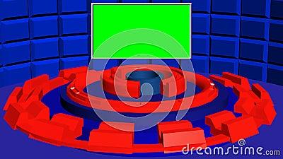 Abstrakt rund bakgrund 4k med blått texturerade väggen och röda roterande cylindrar för fiktion vektor illustrationer