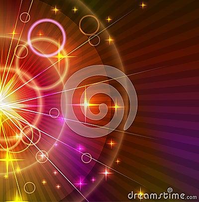 Abstrakta światła - pomarańczowy i fiołkowy Tło