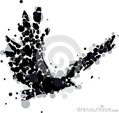 Abstrakte Krähe oder Rabe im flig