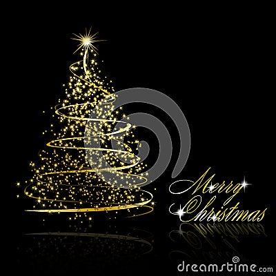 abstrakter goldener weihnachtsbaum auf schwarzem. Black Bedroom Furniture Sets. Home Design Ideas