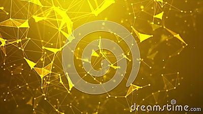 Abstrakter Hintergrund Dot and Connect Line für das futuristische Konzept der Cybertechnologie und Netzwerkverbindung mit dunklen stock footage