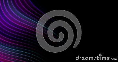abstrakter Hintergrund 4k mit Blauem, Purpurrotem, Veilchen und rosa glühende Neonlinien auf Schwarzem Schablone f?r Darstellunge stock footage