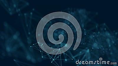 Abstrakter Hintergrund punktiert und Verbindungslinie mit Glühen- und Unschärfeeffekt für Technologiekonzept 4K UHD