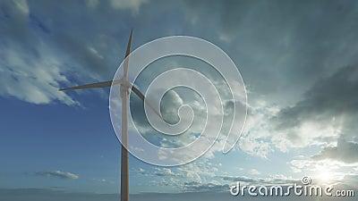 Abstrakter Windgenerator für Bannerdesign Öko, grüne Energie 3D-Abbildung stock footage