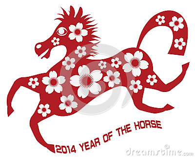 abstraktes rotes chinesisches pferd 2014 mit blume illust. Black Bedroom Furniture Sets. Home Design Ideas