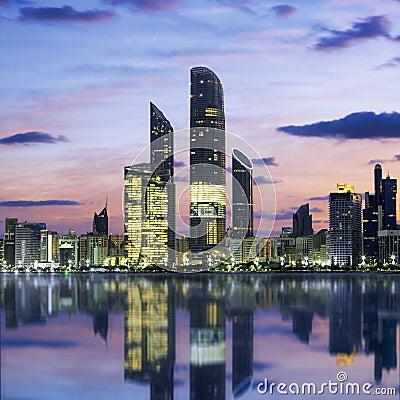 Free Abu Dhabi Skyline At Sunset Stock Image - 49838771