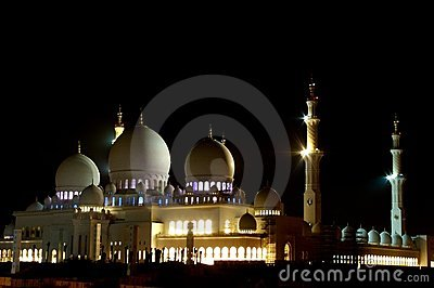 Abu Dhabi Zayed Grand Mosque night