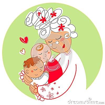 Abuelita con los gemelos del bebé