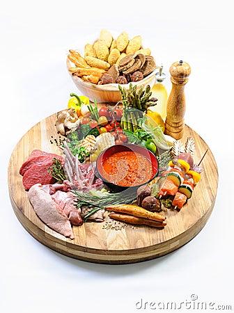 Abundance of raw food and bread