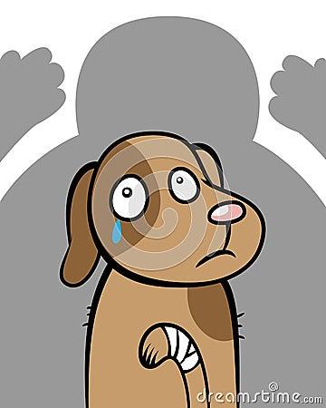 Abused hurt dog animal cruelty