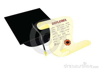 Academic hat with diploma