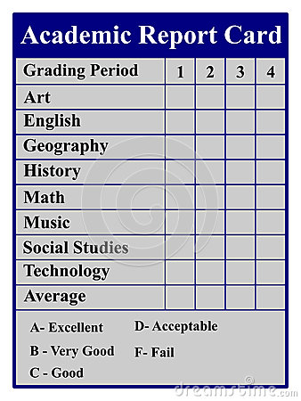 Academic Report Card Royalty Free Stock Photos Image
