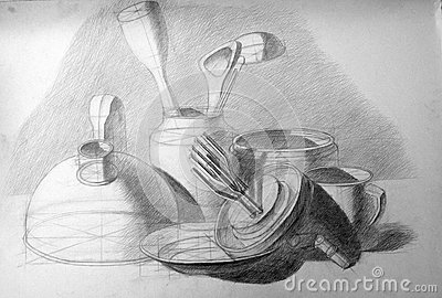 Academic still life drawing with a pencil