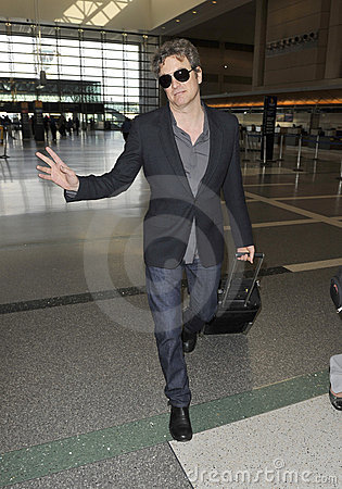 Academy award winner Colin Firth is seen at LAX Editorial Photography