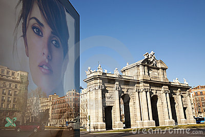 Acala Arch and Penelope Cruz on poster Editorial Image