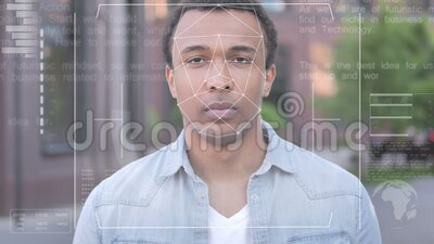 Biometric Facial Recognition Failure for African Man, Access Denied stock footage