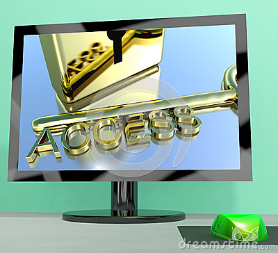 Access Key On Computer Screen Showing Security Stock Photography ...