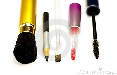 Accessories for make-up on a white background