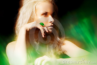 Accessory, jewelry. Rich woman with big jewel ring