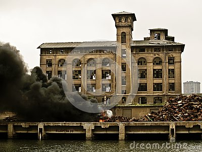 Accident, crane on fire