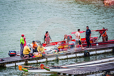 Accident at Dragon Boat Race Editorial Stock Photo