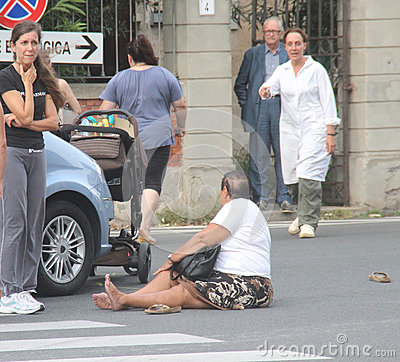 Accident pedestrian with strollers hit by a car Editorial Stock Photo