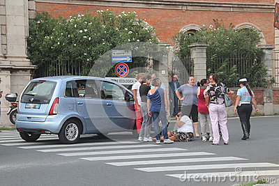 Accident pedestrian with strollers hit by a car Editorial Photo
