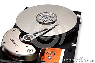 Accionamiento de disco en el fondo blanco
