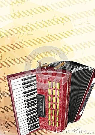 Accordion. Watercolor imitation.