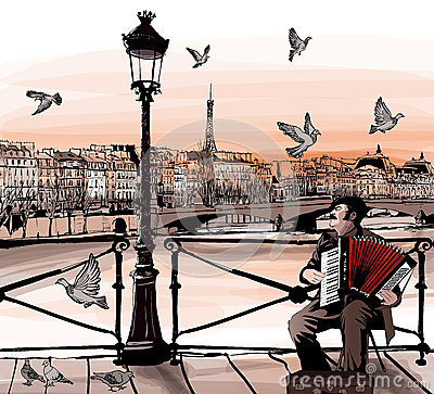 Free Accordionist Playing On Pont Des Arts In Paris Royalty Free Stock Images - 49446829