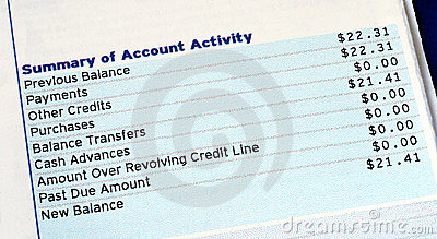 Account activity of a credit card bill