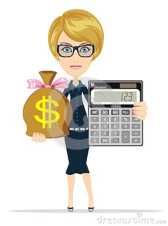 Accountant With A Calculator, Vector Illustration Stock Vector - Image ...