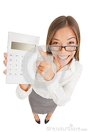 Accountant gleeful woman pointing to a calculator