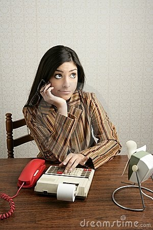Accountant retro woman negative expression